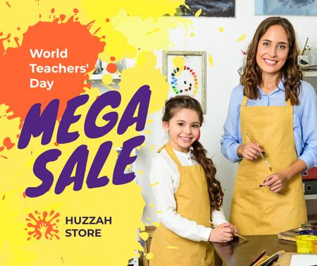 World Teachers' Day Sale Teacher and Girl Painting Facebook Design Template