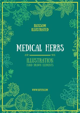 Medical Herbs Illustration with Frame in Green Invitation Tasarım Şablonu