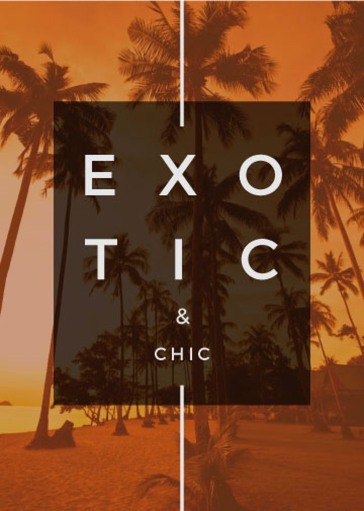 Exotic Tropical Resort Palms in Orange | Flyer Template — Crea un design