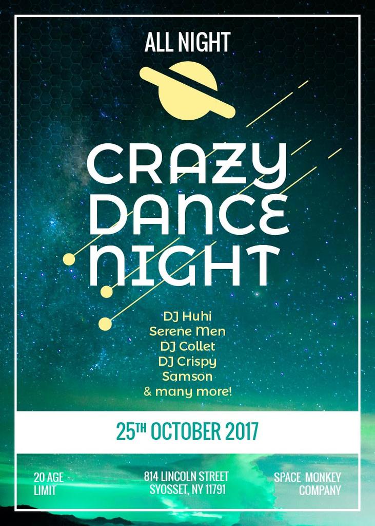 Dance Party Invitation Flyer 5x7in Template Design Online Crello