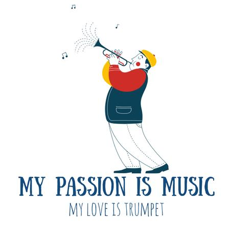 Plantilla de diseño de Inspirational Quote with Musician Playing Trumpet Animated Post