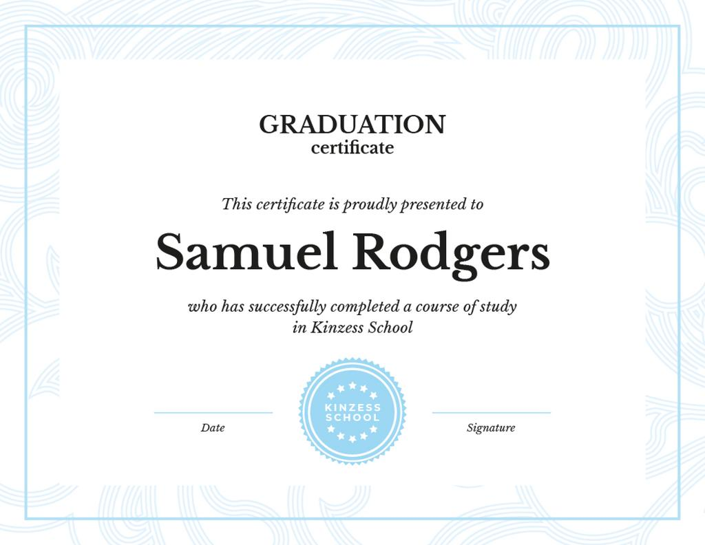 School Graduation confirmation in blue — Crea un design
