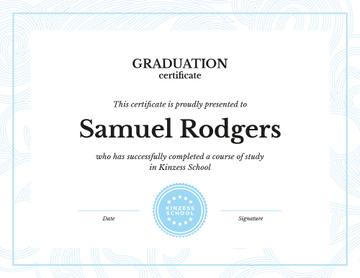 School Graduation confirmation in blue