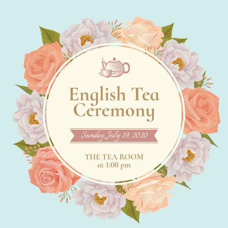 English Tea Ceremony Invitation Instagram – шаблон для дизайну