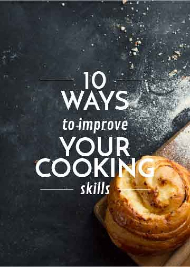 Improving Cooking Skills poster with freshly baked bun — Créer un visuel