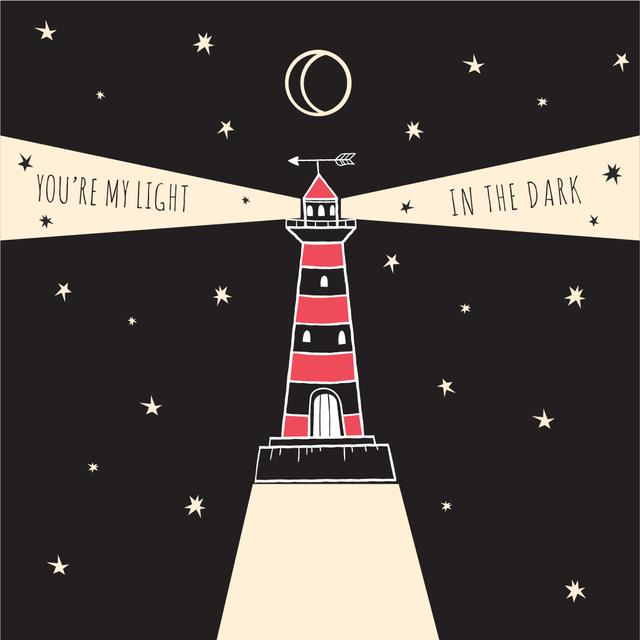 Plantilla de diseño de Motivational Quote with Lighthouse Shining at Night Instagram