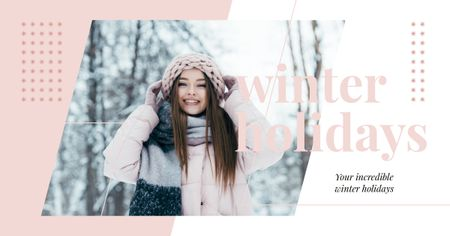 Designvorlage Stylish woman in winter clothes für Facebook AD