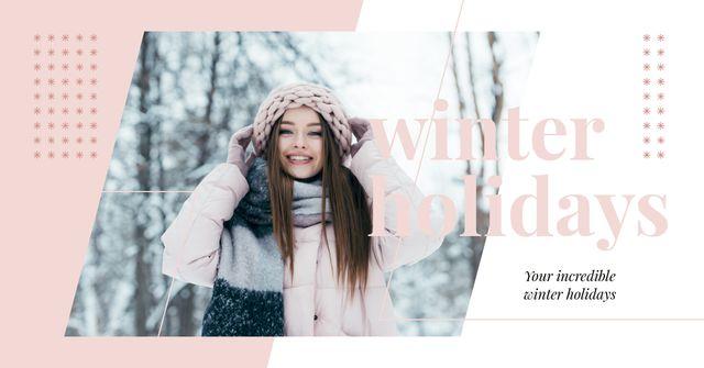 Stylish woman in winter clothes Facebook AD Tasarım Şablonu