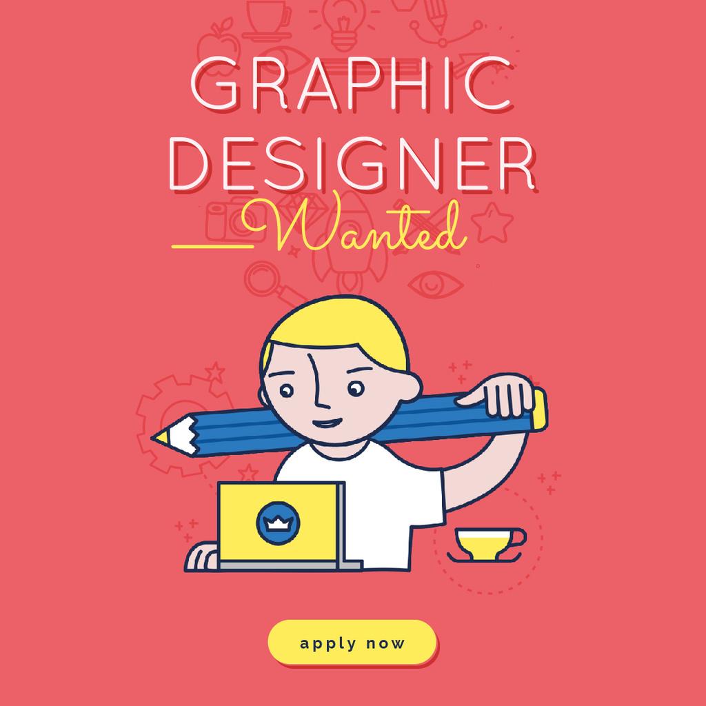 Graphic Designer Working on Laptop in Red — Maak een ontwerp