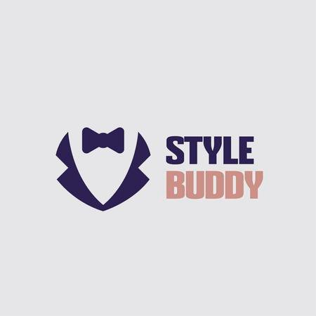 Fashion Ad with Male Suit with Bow-Tie Logo – шаблон для дизайну
