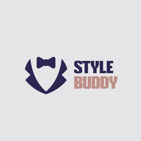 Plantilla de diseño de Fashion Ad with Male Suit with Bow-Tie Logo