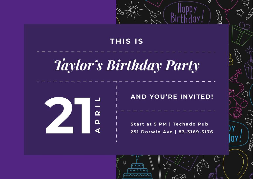 Plantilla de diseño de Birthday Party celebration Announcement Card