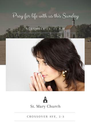 St. Mary Church with Woman praying Poster Design Template