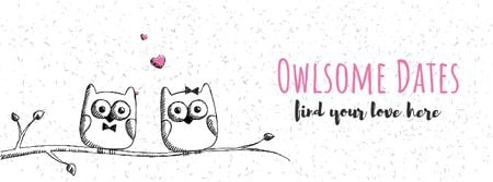 Owls in love sitting on branch Facebook Video cover Tasarım Şablonu