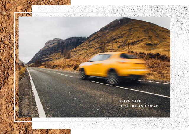 Modern fast car on road Postcard Modelo de Design