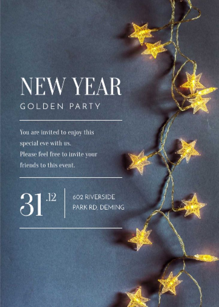 New Year Party Star-Shaped Decorations Invitationデザインテンプレート