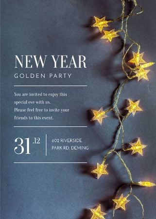 Ontwerpsjabloon van Invitation van New Year Party Star-Shaped Decorations