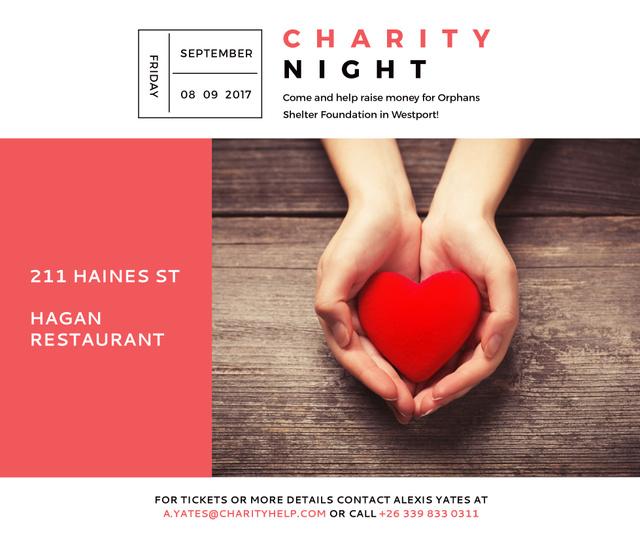 Ontwerpsjabloon van Facebook van Charity event Hands holding Heart in Red