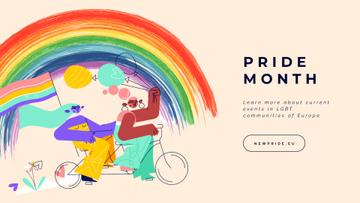Women riding bicycle with rainbow flag