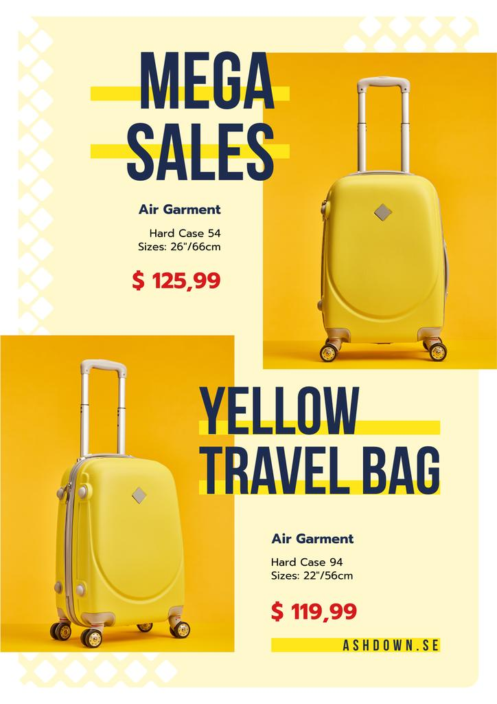 Travel Bags Sale Ad Suitcases in Yellow | Poster Template — Створити дизайн