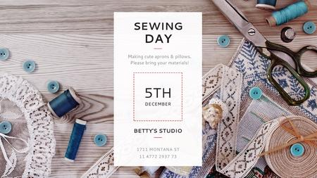 Ontwerpsjabloon van Title van Sewing day event with needlework tools