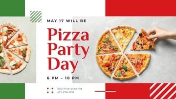 Pizza Party Day Invitation Taking Slice of Pizza