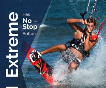 Extreme Inspiration Man Riding Kite Board | Medium Rectangle Template