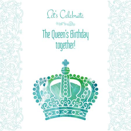 Queen's Birthday greeting with crown Instagram ADデザインテンプレート