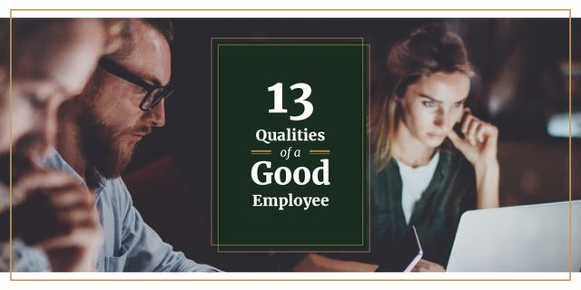 13 qualities of a good employee Image Design Template