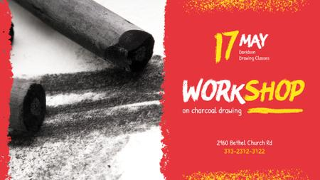 Drawing Workshop invitation with Charcoal Pieces FB event cover Modelo de Design