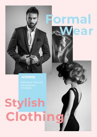 Template di design Formal wear store with Stylish people Poster