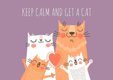 Plantilla de diseño de Cute Family of Cats Card