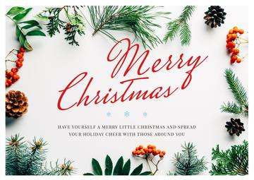 Merry Christmas Greeting Floral Frame | Postcard Template