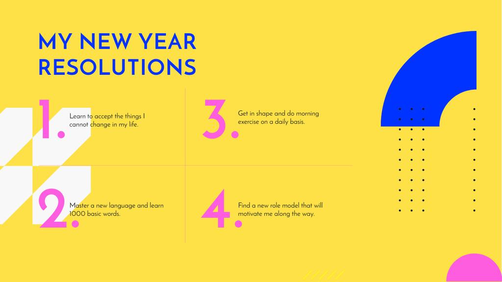 Ontwerpsjabloon van Mind Map van New Year Resolutions on geometric pattern