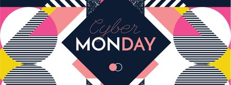Cyber Monday sale on geometric pattern Facebook cover – шаблон для дизайну