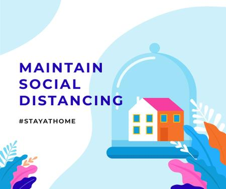 #StayAtHome Social Distancing concept with Home under Dome Facebook Tasarım Şablonu
