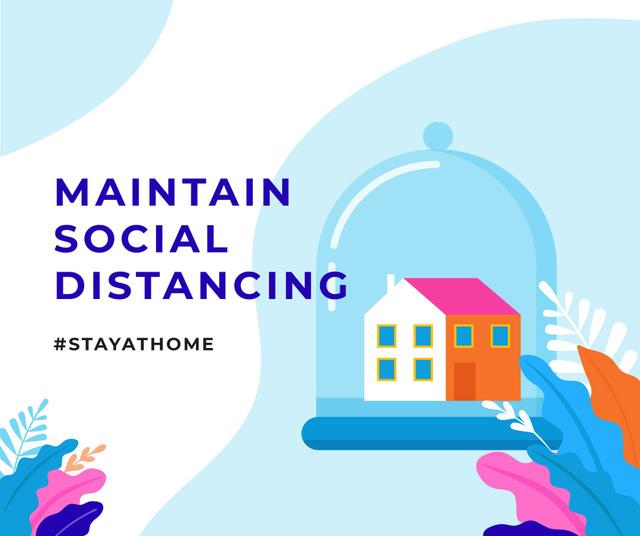 Ontwerpsjabloon van Facebook van #StayAtHome Social Distancing concept with Home under Dome