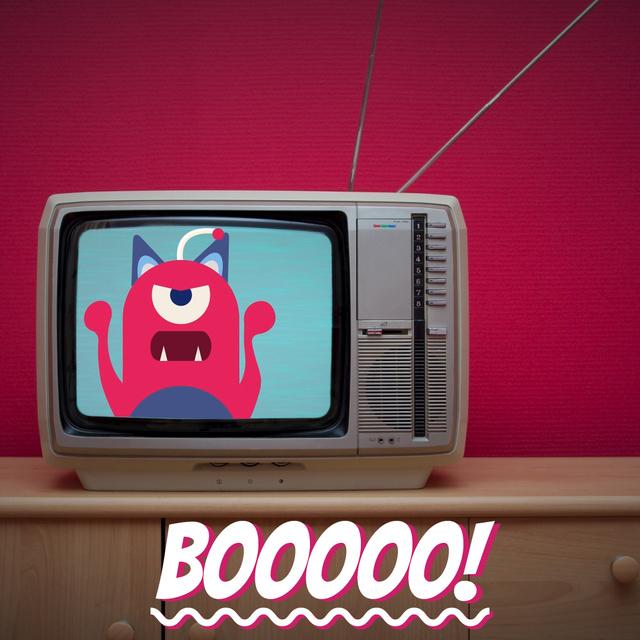 Ontwerpsjabloon van Animated Post van Vintage tv with cartoon monster