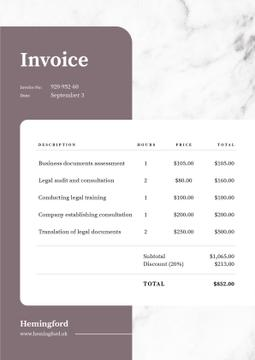Business Company Services Invoice on White Texture