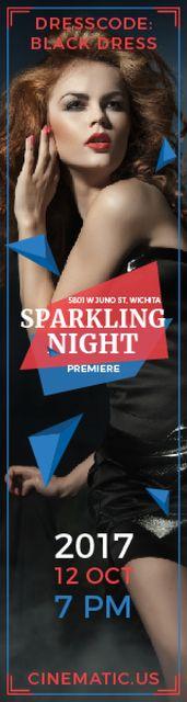 Night Party Invitation Woman in Black Dress Skyscraper – шаблон для дизайну