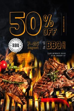 Template di design BBQ Menu with Grilled Meat on Fire Pinterest