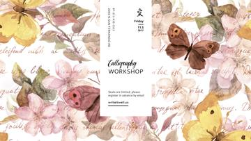 Calligraphy workshop Announcement with Floral paintings