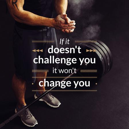 Modèle de visuel Sportsman with Barbell and Motivational Quote - Instagram