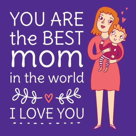 Happy Mom holding Child on Mother's Day Instagram Design Template