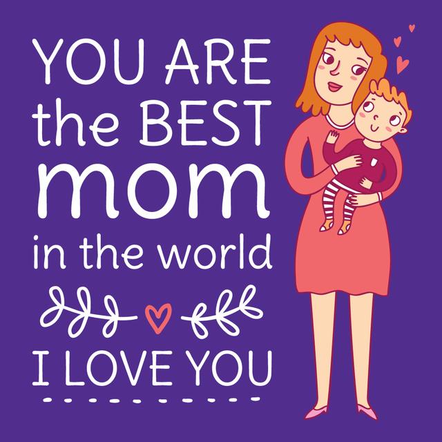 Happy Mom holding Child on Mother's Day Instagramデザインテンプレート