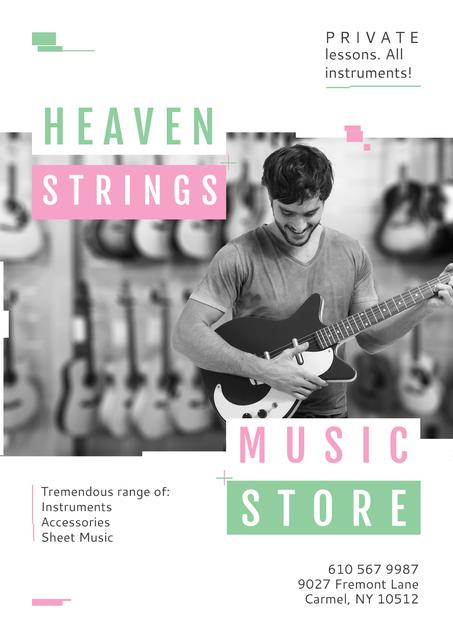 Music Store Special Offer with Man playing Guitar Poster Design Template