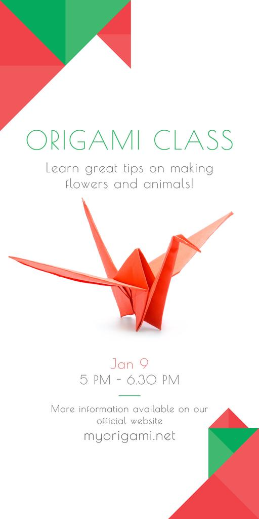 Origami Classes Invitation Paper Bird in Red — Crea un design