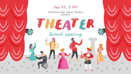 Theater Invitation Actors Performing on Stage FB event cover Modelo de Design