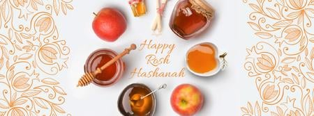 Rosh Hashanah apples with honey and Star of David Facebook Video cover – шаблон для дизайна