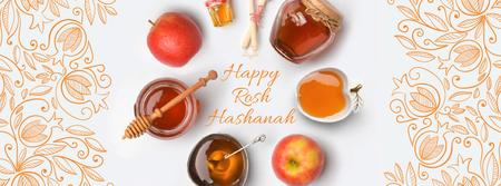 Rosh Hashanah apples with honey and Star of David Facebook Video cover Modelo de Design
